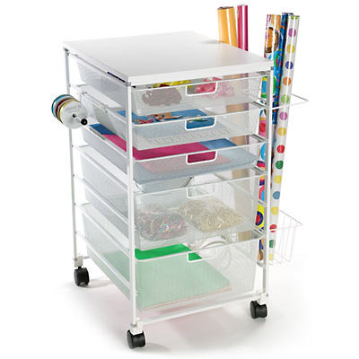 elfa Mesh Gift Packaging Cart White