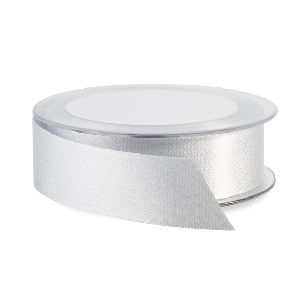 Glitter Double Satin Ribbon Silver