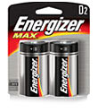 Energizer D Batteries Pkg/2