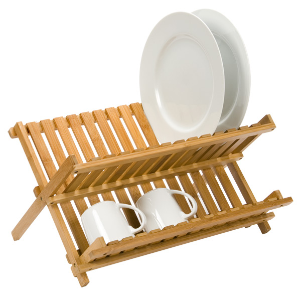 sc 1 st  The Container Store & Dish Rack - Folding Bamboo Dish Rack | The Container Store