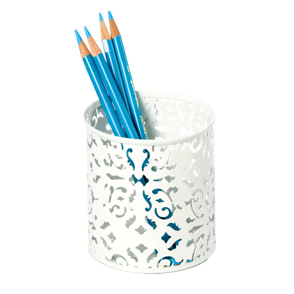 Brocade Pencil Cup White