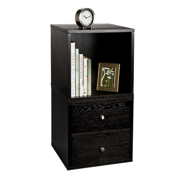 Premium Cube Bedside Table Ebony