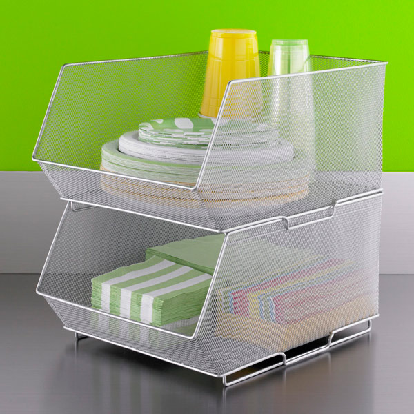 Silver Mesh Stackable Storage Bins The Container Store