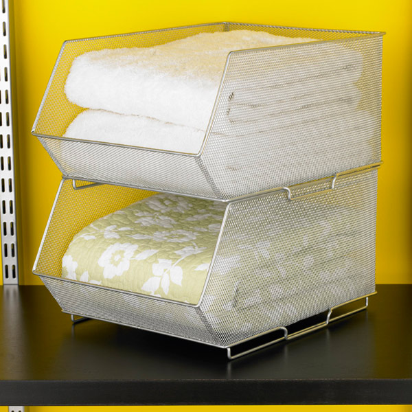 silver mesh stackable storage bins u0026 u0026 u0026 roll over to zoom