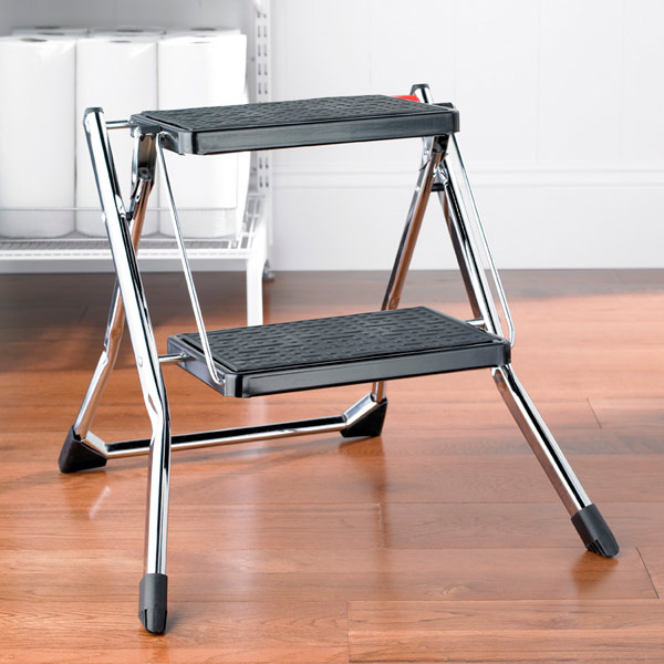 Roll over to zoom & Polder Chrome Slim Folding Step Stool | The Container Store islam-shia.org