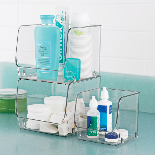 Interdesign linus open stackable bins the container store - Plastic bathroom storage containers ...