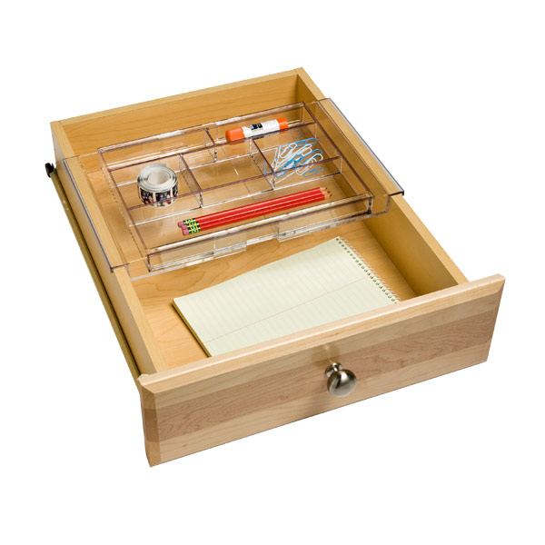 Expanding acrylic drawer organizer the container store - Desk drawer organizer trays ...