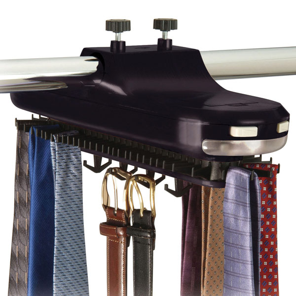 Lighted Revolving Tie Rack Black