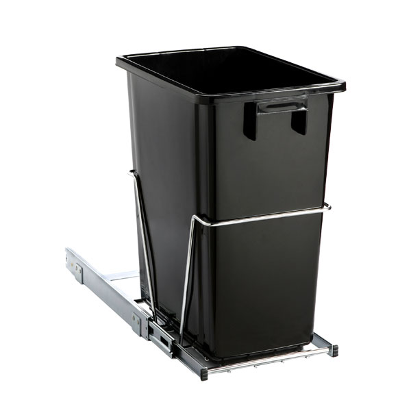 black 8 gal under the cabinet pull out trash can the container store. Black Bedroom Furniture Sets. Home Design Ideas