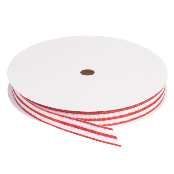 Striped Grosgrain Ribbon Red & White