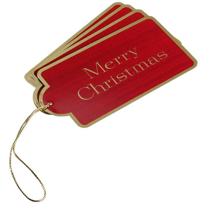 Gift Tags Red Merry Christmas Pkg/4
