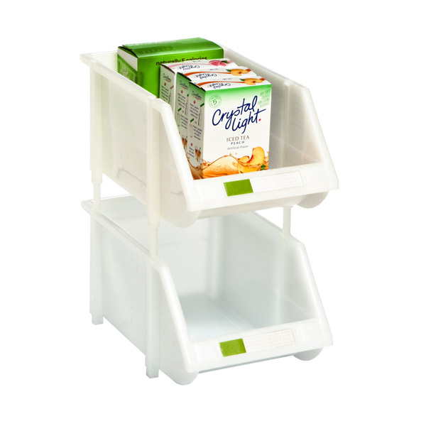 White Kitchen Bin stacking bin - white stackable bins with label holder | the