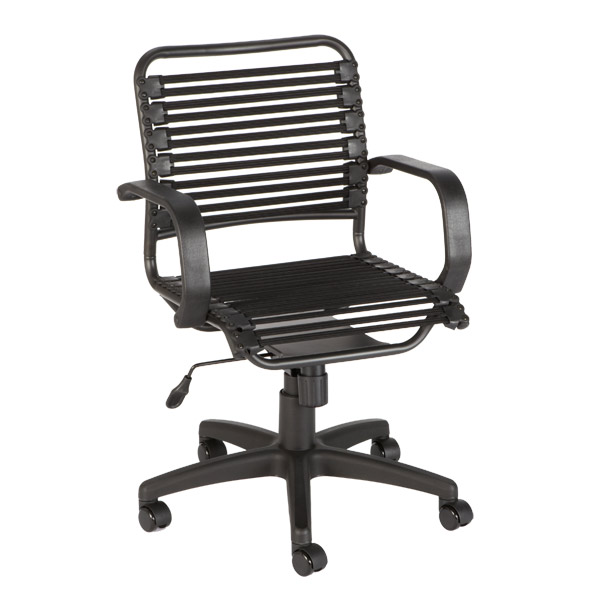 Flat Bungee Office Chair w/ Arms Black