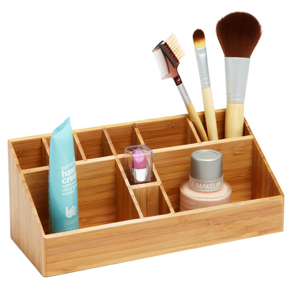 Bamboo makeup organizer the container store