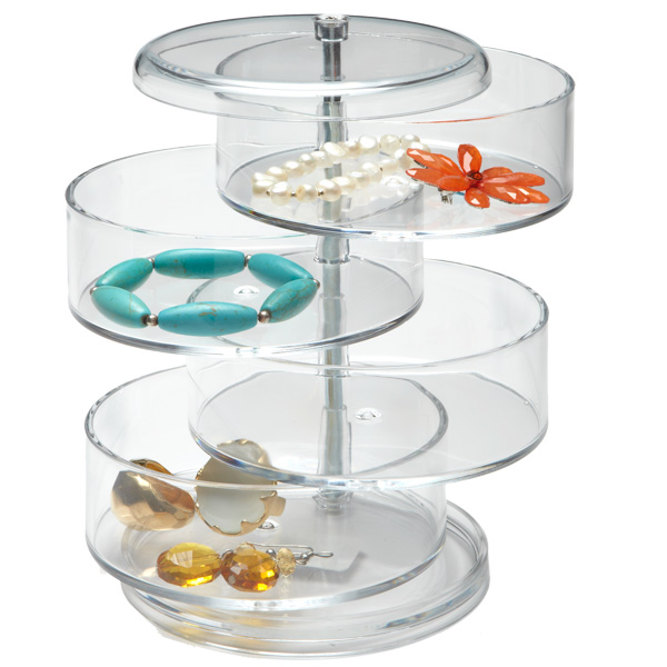 4-Section Acrylic Swivel Organizer Clear