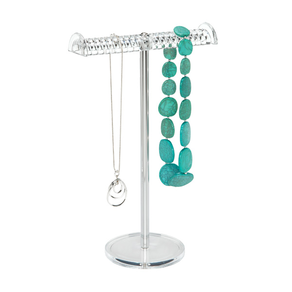 Acrylic Grooved Necklace Stand Clear