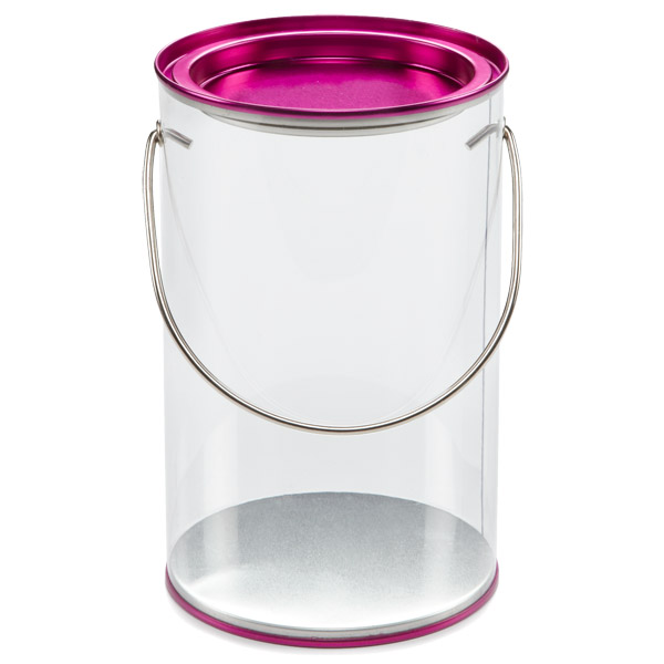 Small Clear Paint Can Fuchsia Lid