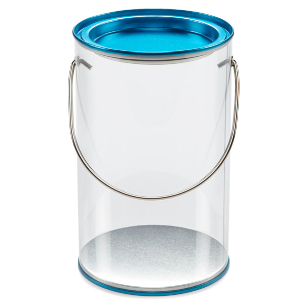 Small Clear Paint Can Blue Lid