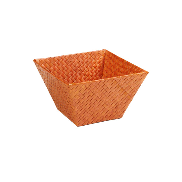 Small Square Pandan Basket Orange