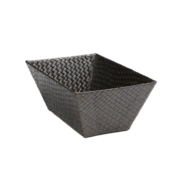 Small Rectangular Pandan Basket Black