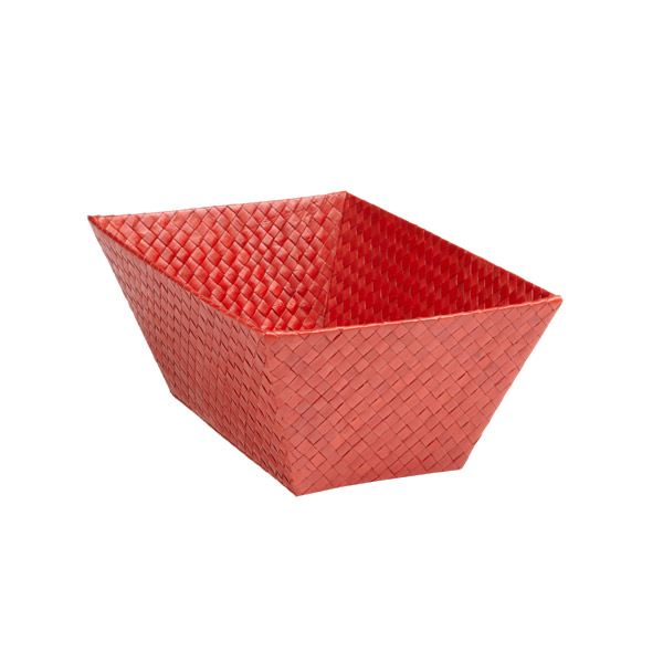 Small Rectangular Pandan Basket Red
