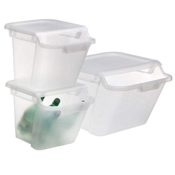 Stacking Recycling u0026 Storage Bins  sc 1 st  The Container Store & Iris Clear Stackable Recycle u0026 Storage Bins | The Container Store