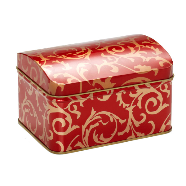 Brocade Hinge-Lid Tin Red