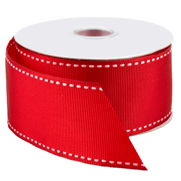 White Stitched Red Grosgrain Wired Ribbon | The Container Store