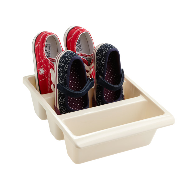 3-Section Shoe Bin Cream