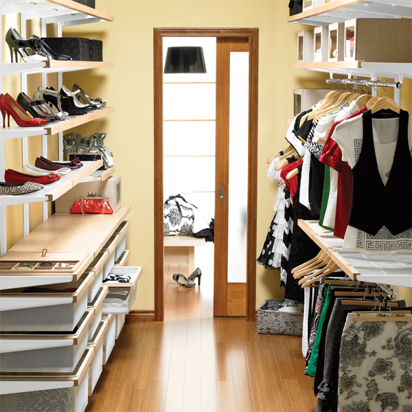 A Walk In Closet birch & white elfa décor organized walk-in closet | the container
