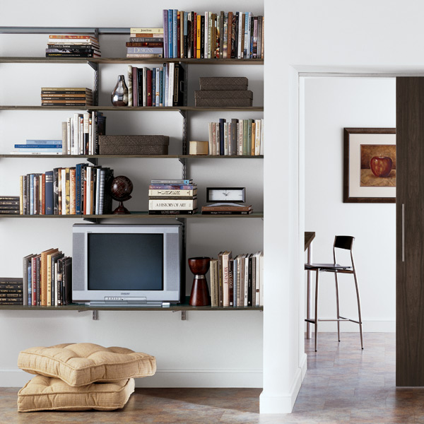 elfa Living Room Shelving Driftwood & Platinum