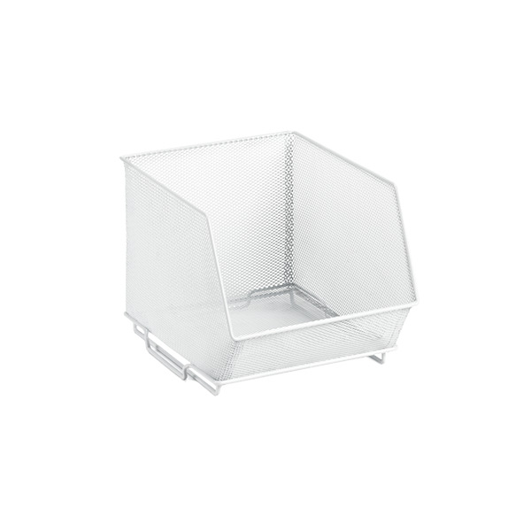 Small Mesh Stacking Bin White