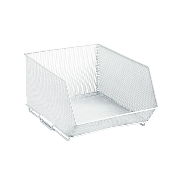 Medium Mesh Stacking Bin White