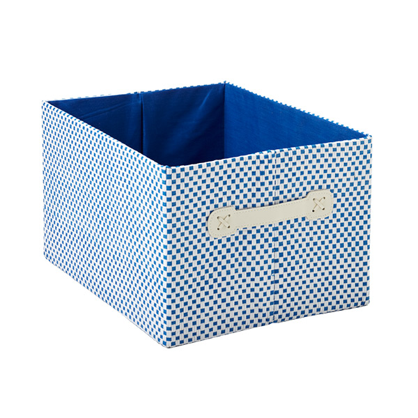 Large Gingham Bin Blue