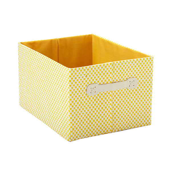 Large Gingham Bin Yellow