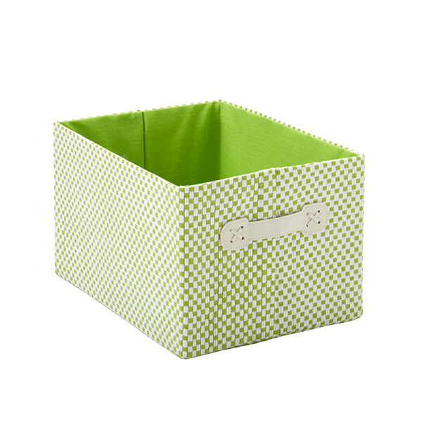Small Gingham Bin Green