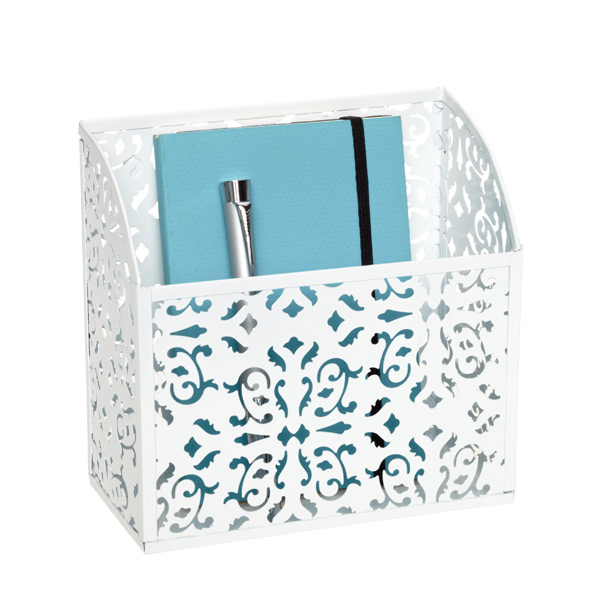 Brocade Magnetic Bin White