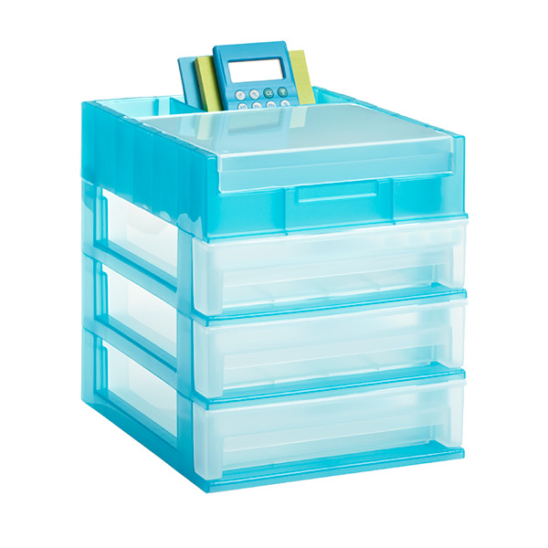 3-Drawer Desktop Organizer Clear/Turquoise