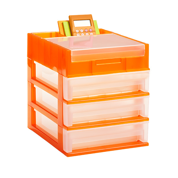 3-Drawer Desktop Organizer Clear/Orange