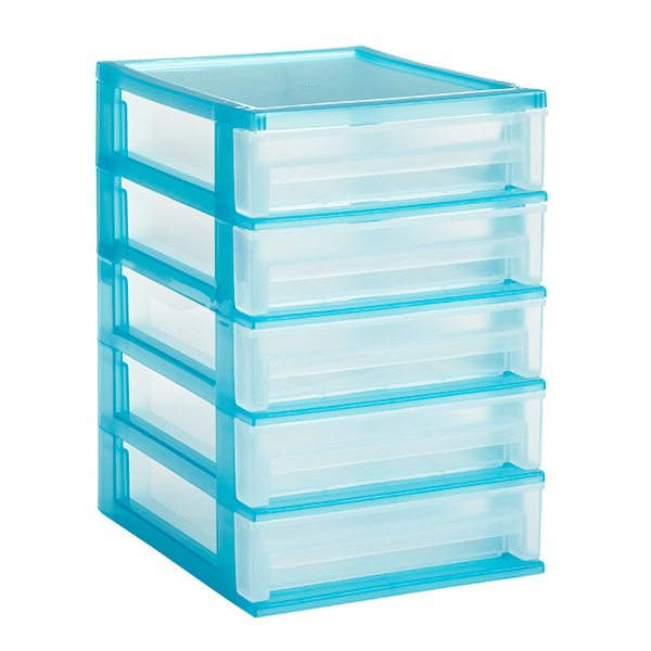 5-Drawer Desktop Organizer Clear/Turquoise