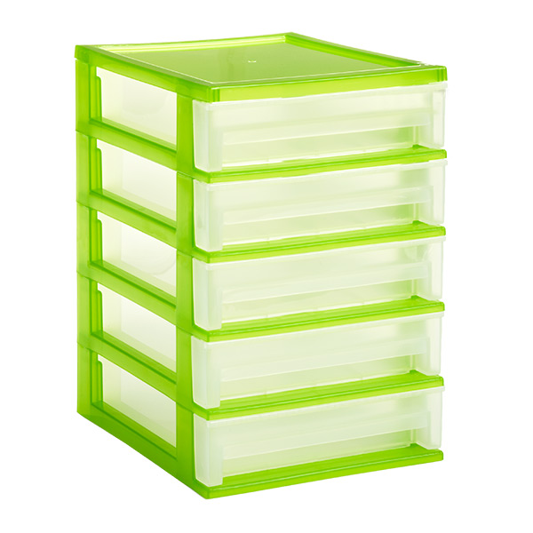 5-Drawer Desktop Organizer Clear/Lime