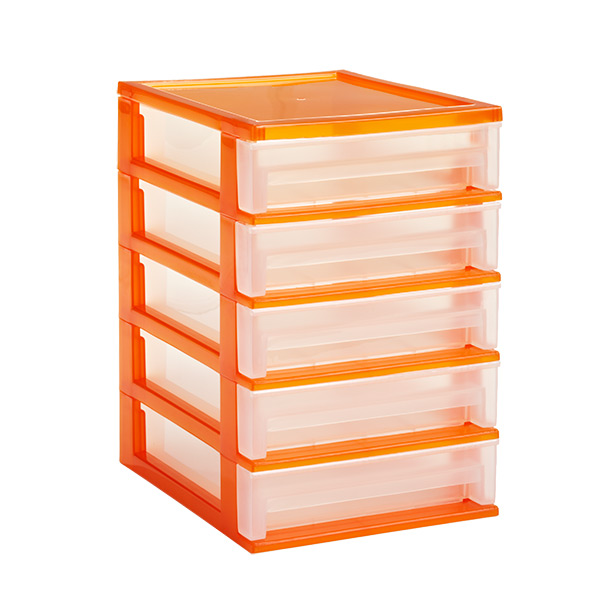 5-Drawer Desktop Organizer Clear/Orange