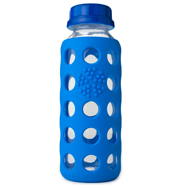 9 oz. Glass & Silicone Bottle Blue