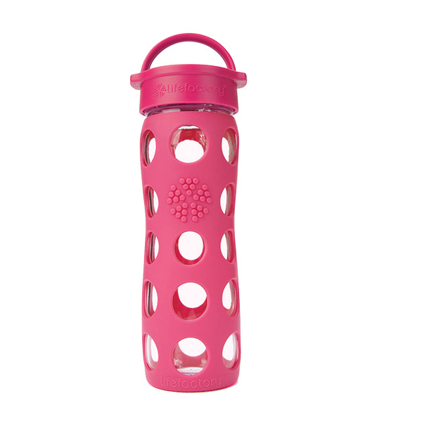 16 oz. Glass & Silicone Bottle Raspberry