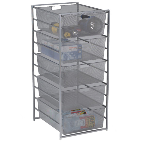 elfa Mesh Garage Drawers Platinum