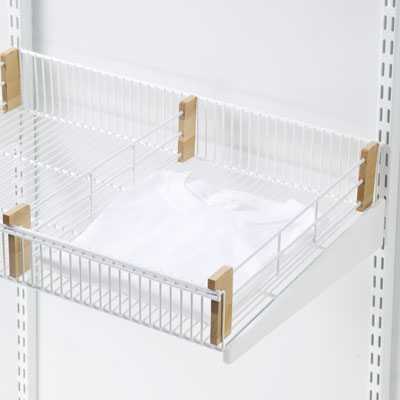 "16"" elfa decor Shelf Basket Dividers White & Birch Pkg/2"