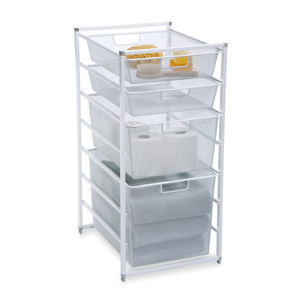 White Cabinet Sized Elfa Mesh Drawers