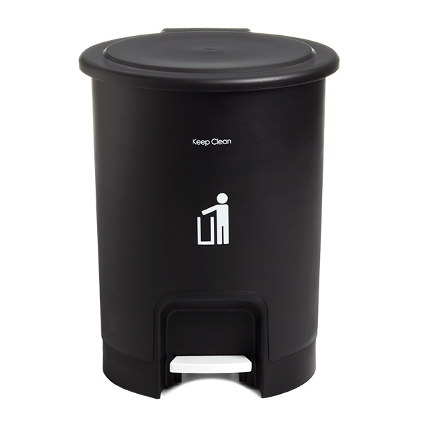 2.5 gal. Round Step Can Black