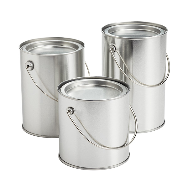 Miniature Silver Paint Cans