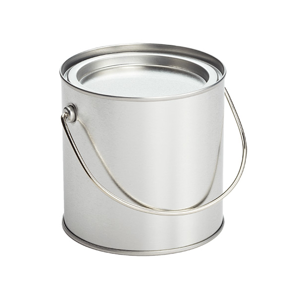 Paint Can with Handle Silver